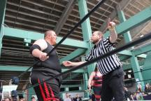 Crockett temporarily ends his extennnded hiatus to referee Brian's match in Fenway Park in 2017