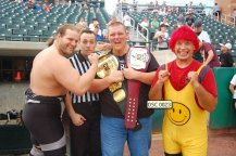 The future Warbeard Hanson, bemused Crockett, double champ Milonas and Psycho